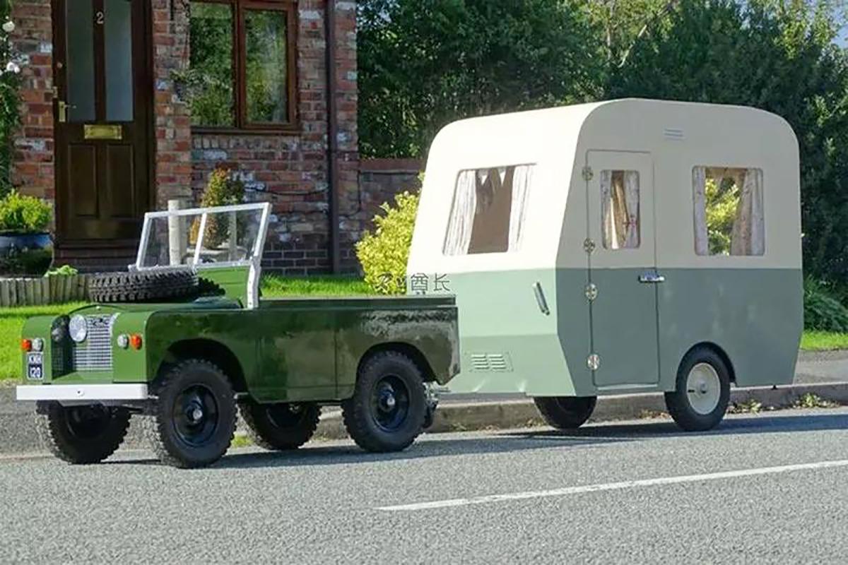 路虎+拖挂房车:这是一款儿童仿真电动玩具车